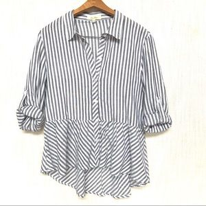Love Notes Striped Button Down Peplum Blouse, Med